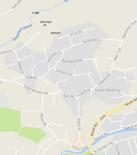 Map of Pilton showing Manning;s Pit,