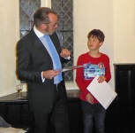 David Weeks presenting prize to Alex Meller,