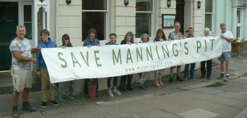 Campaigners outside Yeo Dale Hotel, Pilton